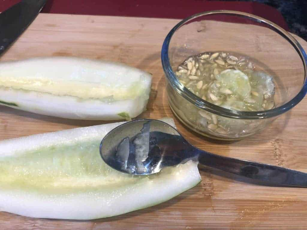 removing seeds from cucumber
