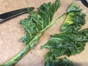 Removing Leaf from Kale Stem