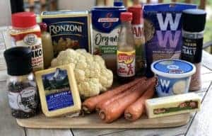 the ingredients for healthy mac and cheese