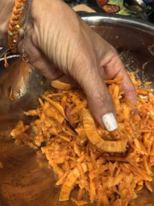 mixing ingredients with your hand