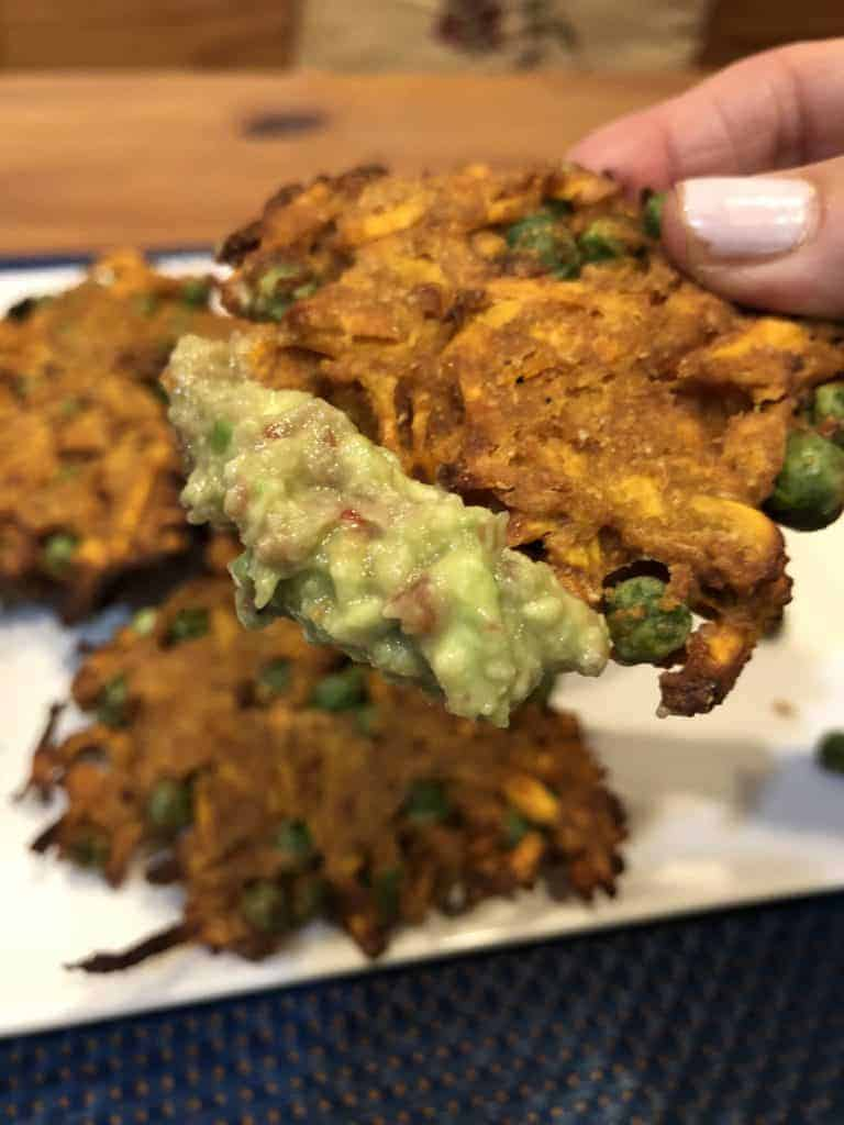 Dipping the Curried Sweet Potato Fritters