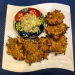Sweet Potato Fritters on a plate with Salsa