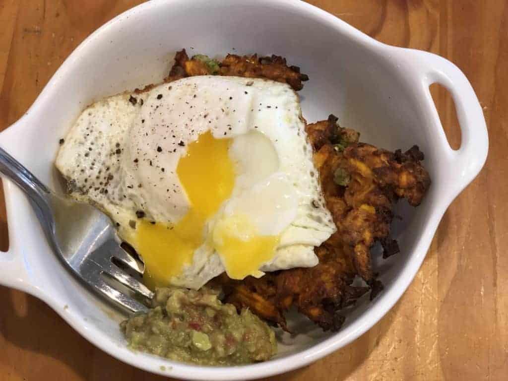 Fried egg over Sweet Potato Fritters