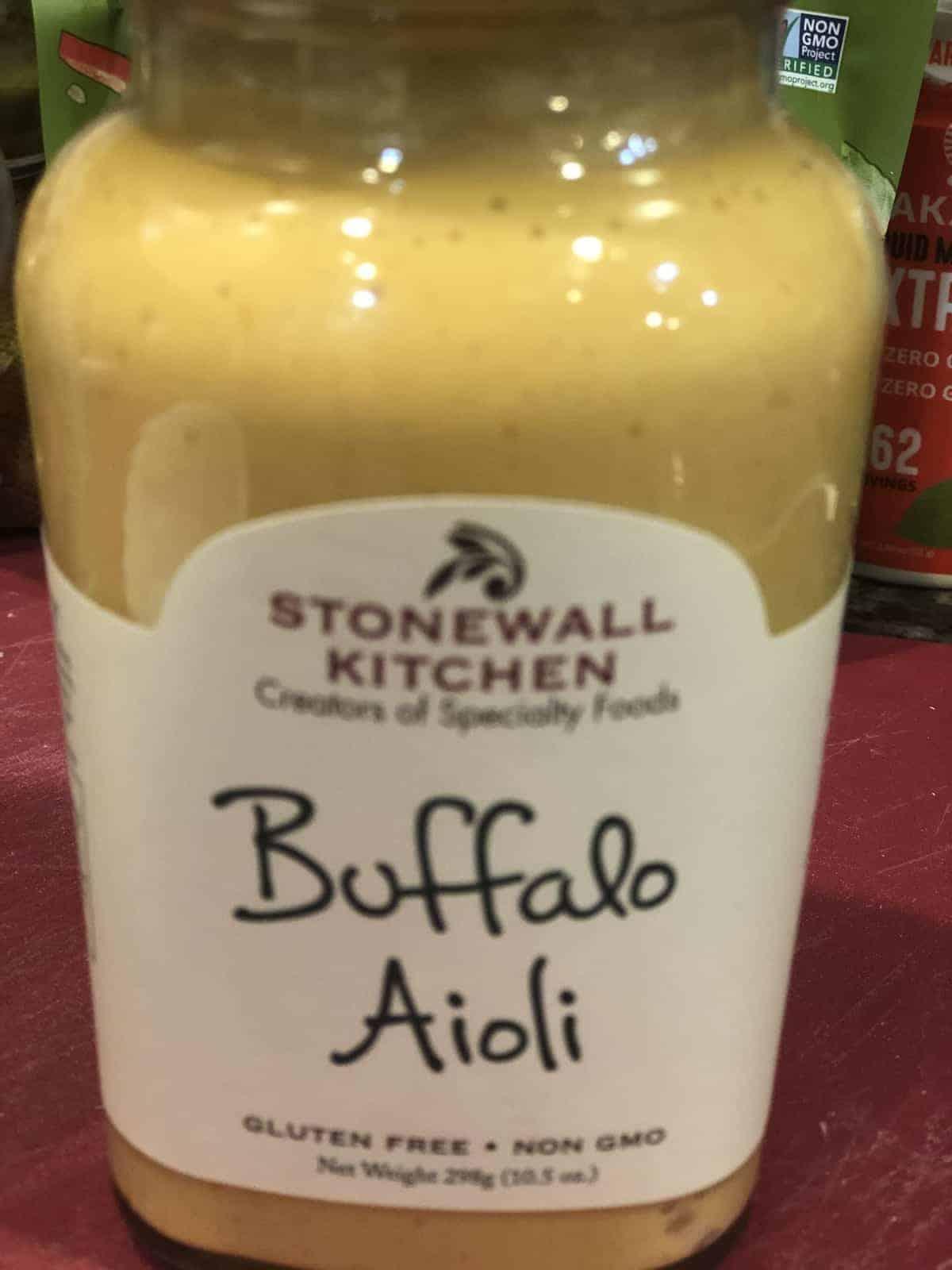 A jar of Buffalo Aioii Sauce