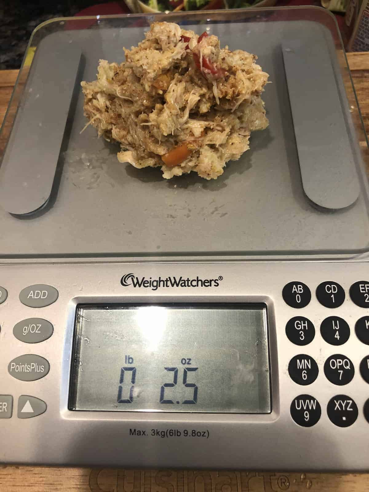 Weighing Crab Cakes on a digital food scale