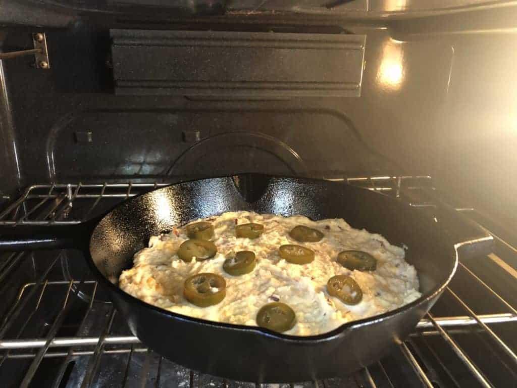 Keto cornbread in the oven