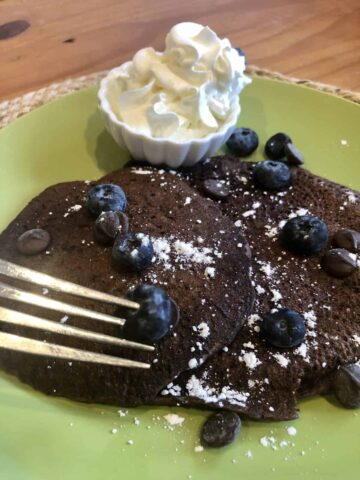 chocolate pancakes and blueberries