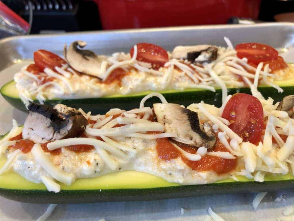 Zucchini Pizza ready for the Oven