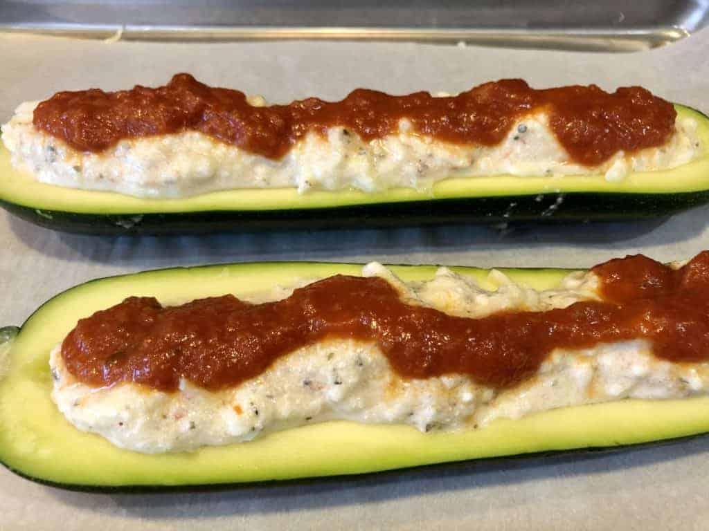 Zucchini Boats topped with Marinara Sauce