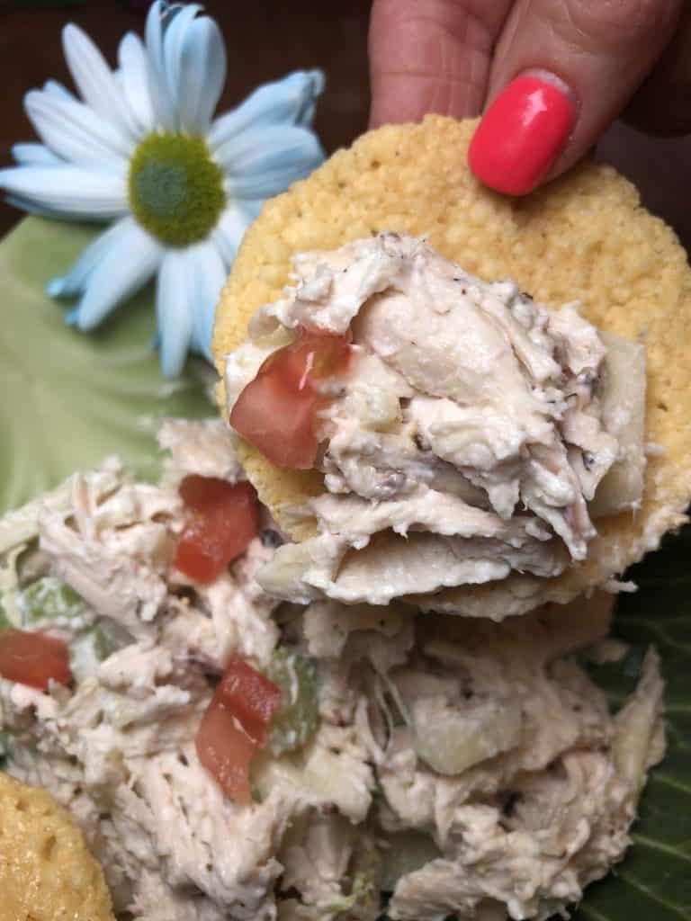 Chicken Salad on a Parmesan Crisp