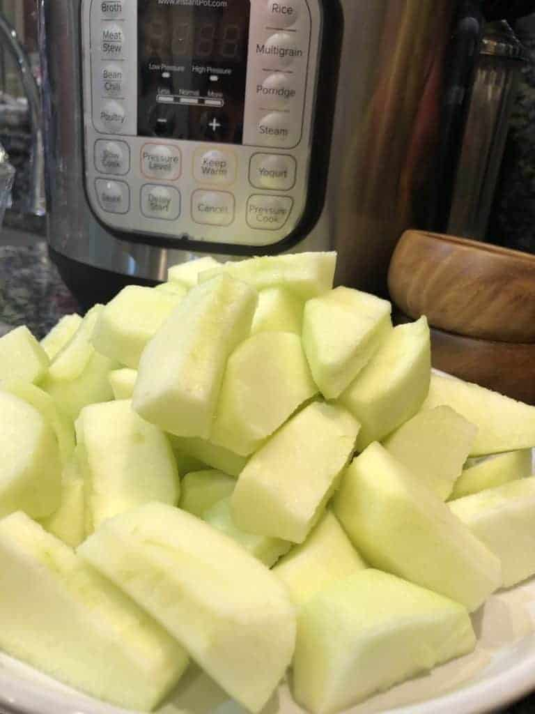 Cored and peeled apples