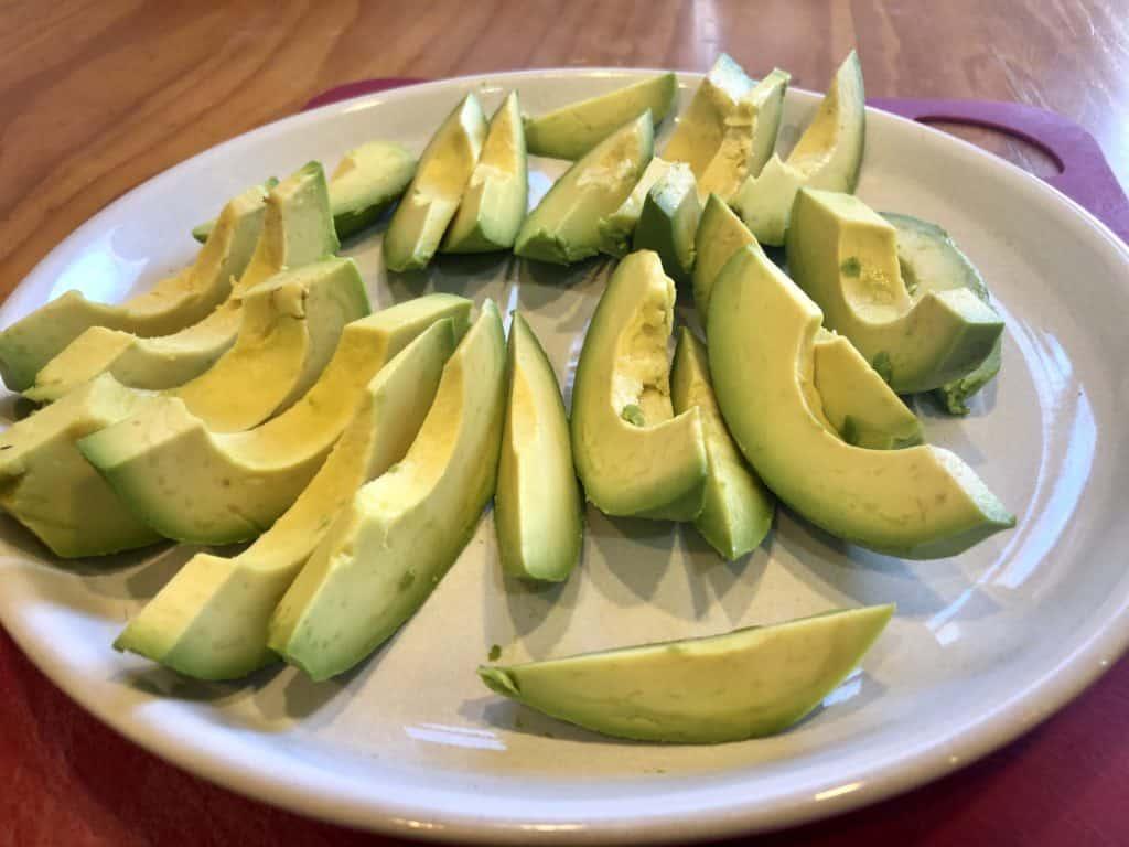 Avocado cut into wedges