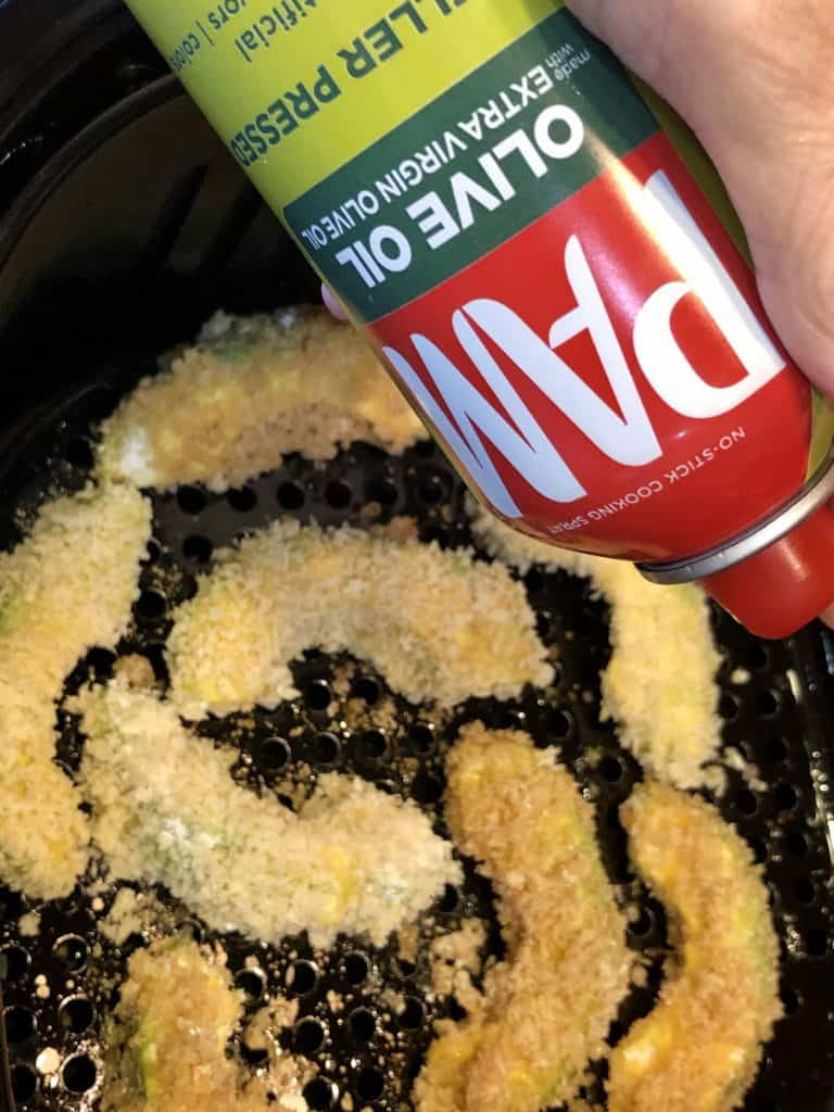 Spritzing Avocado Fries with Olive Oil