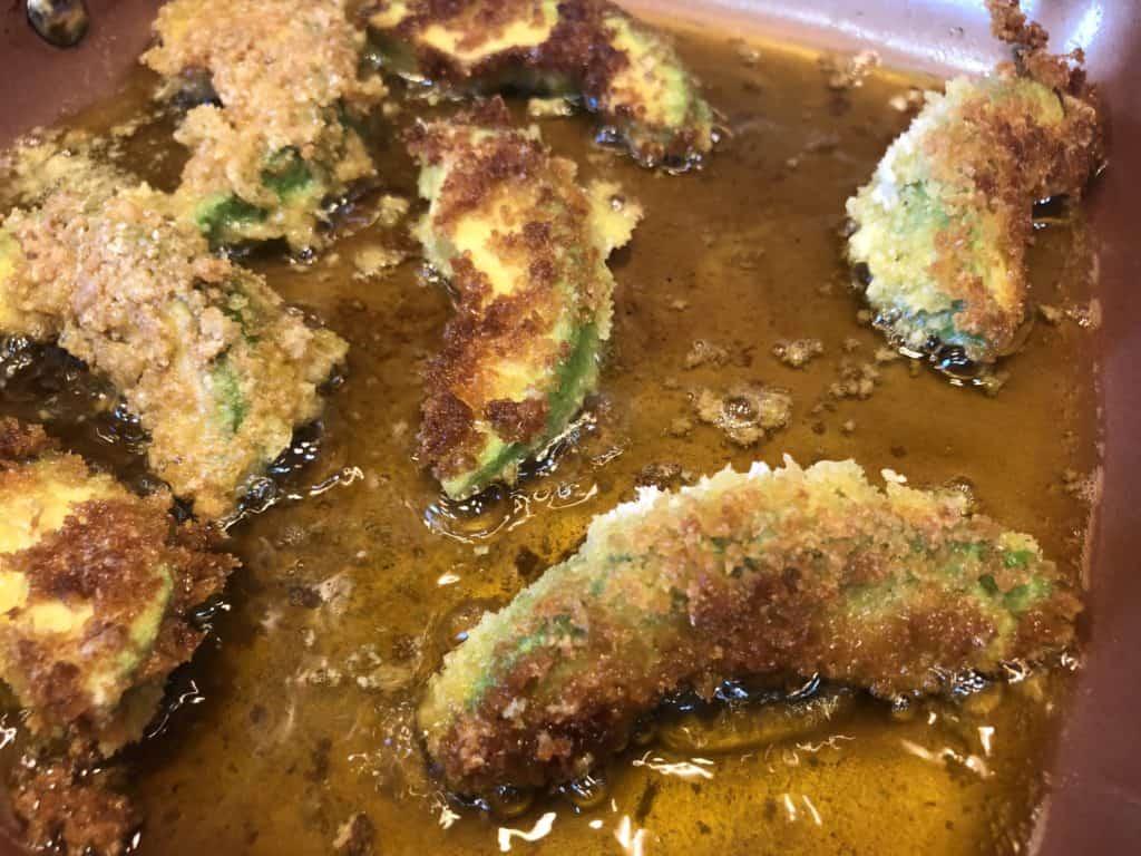 Frying Avocado Fries in Olive Oil