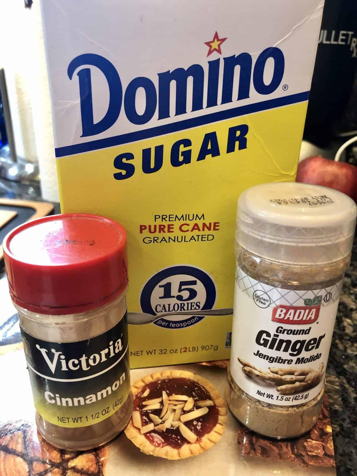 Sugar Cinnamon and Ginger Ingredient for Baked Apple Crisps