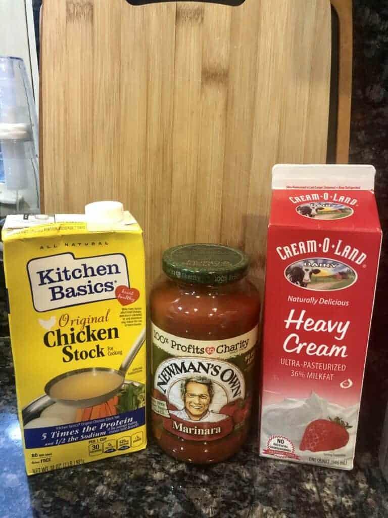Chicken Broth Tomato Sauce and Heavy Cream