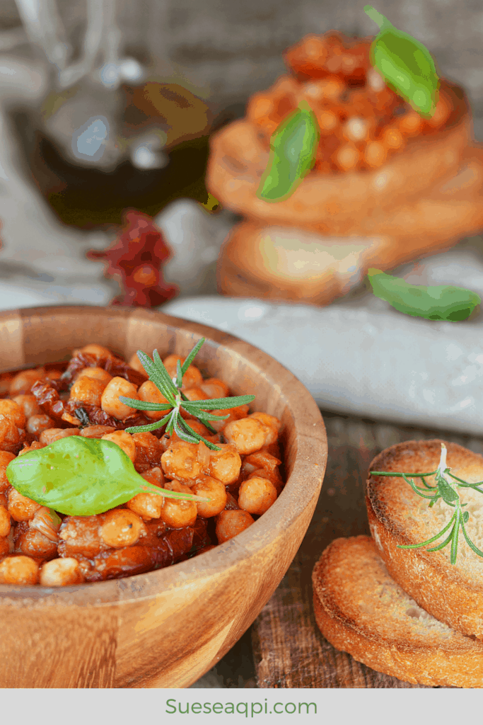 Chickpea stew on a baguette