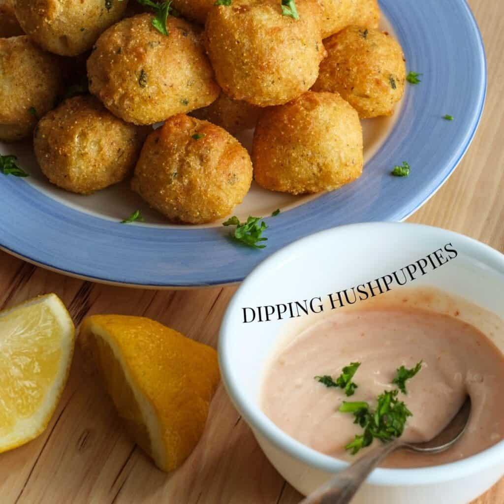 Dipping Hushpuppies in Aioli Sauce