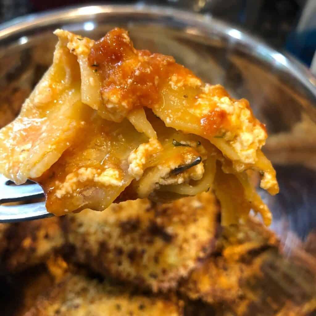 Lasagna on a fork