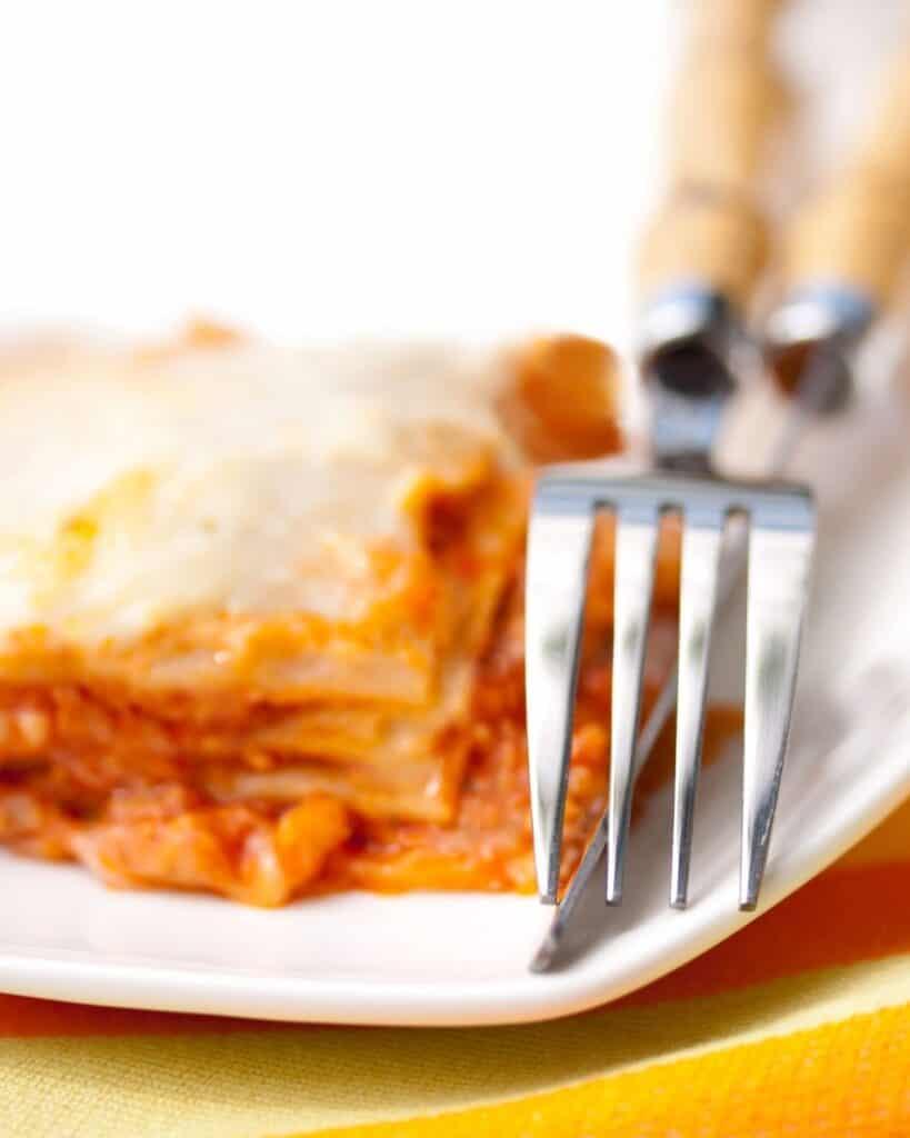 A fork and Lasagna
