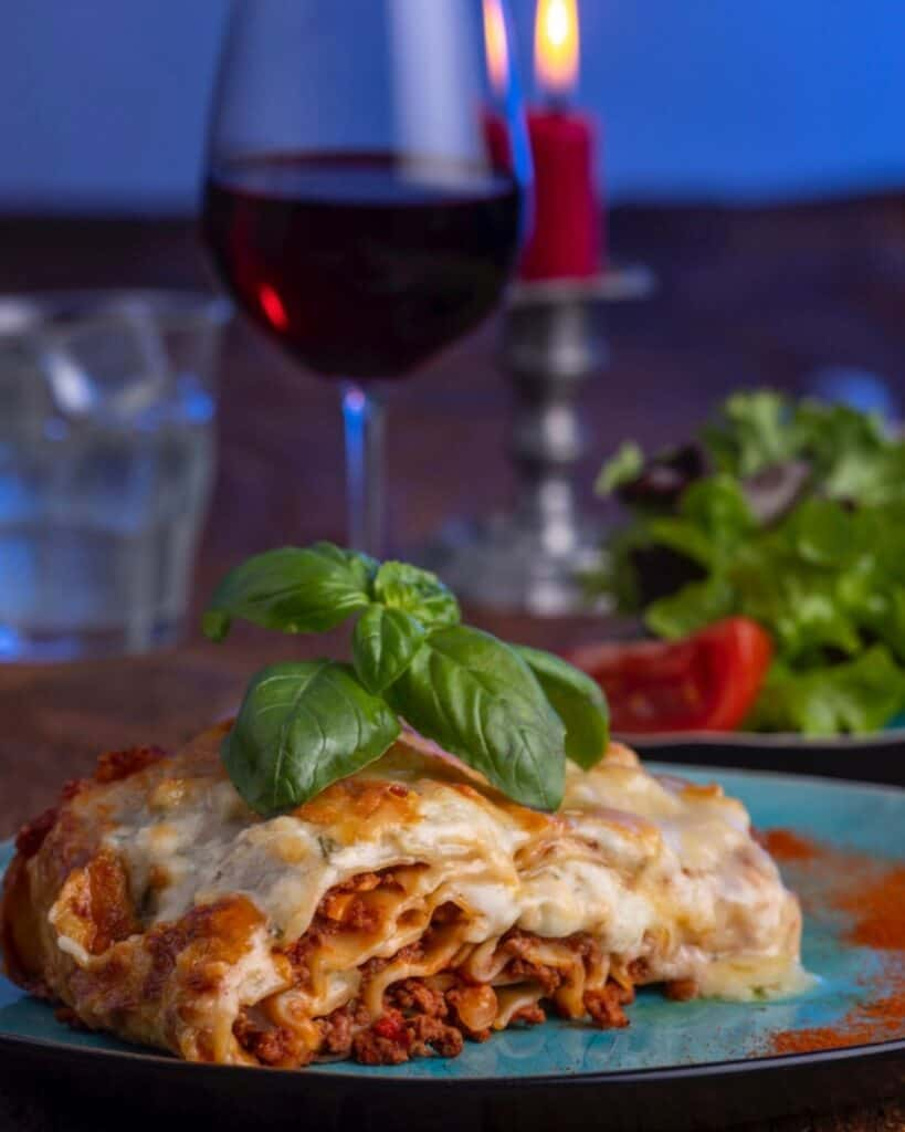 Lasagna on a plate on the table