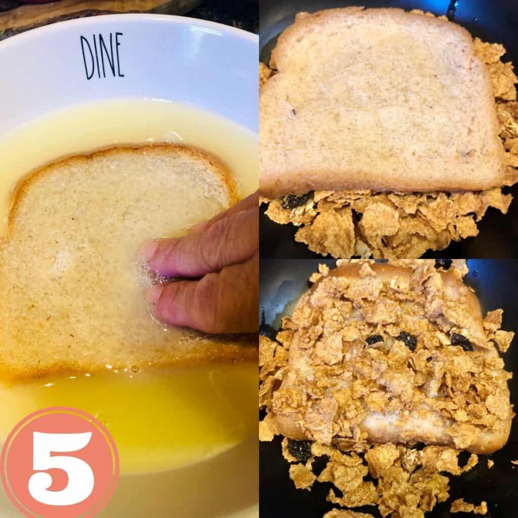 Dipping bread in egg wash and dipping bread in cereal and bread coated with cereal crunch